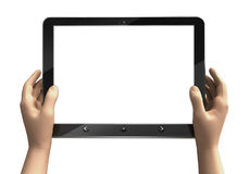 blank tablet computer screen with human hands Stock Image