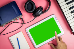 Blank tablet for Musician and Music producer application stock image