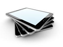 Blank Tablet PC Stack On White Background Stock Photos
