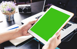 Blank tablet screen for mock up on graphic designer Royalty Free Stock Images