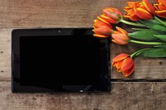 Blank Tablet and Tulips. Overhead shot a blank tablet with a bouquet of orange and yellow tulips over a wood table. Flat lay top view style Royalty Free Stock Image
