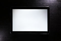 Blank Tablet White Screen Android Black Stylish Corporate Wood Desk Stock Images