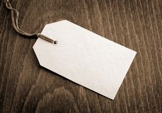 Blank tag. On wooden background Royalty Free Stock Image