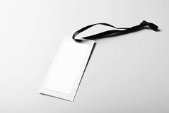 Blank tag with black ribbon Royalty Free Stock Photography