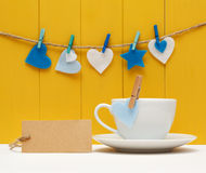Blank tag with hearts and coffee mug Stock Photos