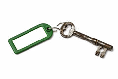 Blank tag and old key Royalty Free Stock Photos