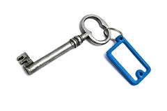 Blank tag and old key Royalty Free Stock Image