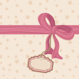 Blank tag and pink bow. Seamless star background with pink bow and blank tag Stock Photo