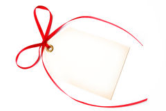 Blank Tag and Red Ribbon Stock Images