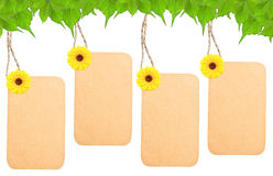 Blank tag and sunflower Royalty Free Stock Images