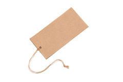 Blank tag tied with brown string. Royalty Free Stock Images