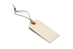 Blank tag tied with brown string Royalty Free Stock Photos