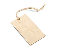 Blank tag tied with string on white Royalty Free Stock Images