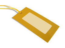 Blank tag tied with yellow string Stock Photos