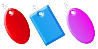 Blank tags. With different three colours on the white background Stock Images