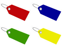 Blank tags. In four different colors: red, blue, green, and yellow; 3D render Stock Photography