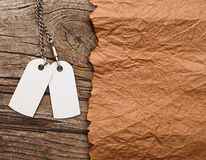 Blank tags with silver chain Stock Photo