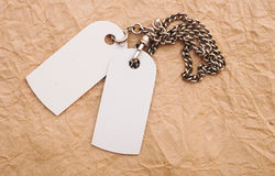 Blank tags with silver chain Stock Images