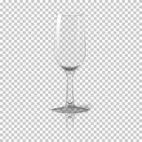Blank tall transparent photo realistic  wine glass with reflection, for branding and your design. On plaid Royalty Free Stock Photography