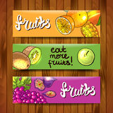 Blank template. Beautiful hand drawn banners fruits on the wood Stock Image