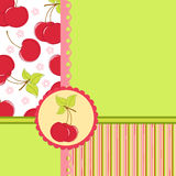 Blank template for cherry greetings card. Blank template for greetings card, postcard or photo farme with cherry theme Stock Photo