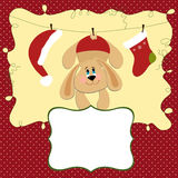 Blank template for Christmas greetings card. Postcard or photo frame Stock Photos