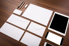 Blank Template. Consist of Business cards, letterhead a4, Tablet Royalty Free Stock Photography