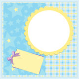 Blank template for greetings card. Or photo frame in blue colors Royalty Free Stock Image
