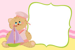 Blank template for greetings card. Or photo frame in pink colors Royalty Free Stock Photos