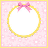 Blank template for greetings card. Or photo frame in pink colors Royalty Free Stock Photo
