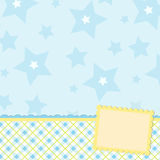 Blank template for greetings card. Or photo frame in blue colors Royalty Free Stock Photography