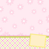 Blank template for greetings card. Or photo frame in pink colors Royalty Free Stock Images