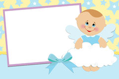 Blank template for greetings card. Or photo frame in blue colors Stock Photo
