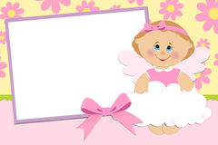 Blank template for greetings card. Or photo frame in pink colors Stock Image