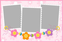 Blank template for greetings card. Or photo frame in pink colors Royalty Free Stock Photography