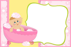 Blank template for greetings card. Blank template for baby's greetings card or photo frame in pink colors Stock Photos