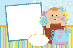 Blank template for greetings card. Blank template for baby's greetings card or photo frame in blue colors Stock Images
