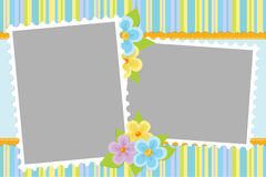Blank template for greetings card. Blank template for baby's greetings card or photo frame in blue colors Royalty Free Stock Image