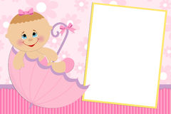 Blank template for greetings card. Blank template for baby's greetings card or photo frame in pink colors Stock Photography