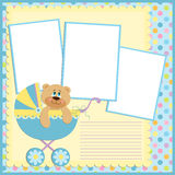 Blank template for greetings card. Or photo frame in blue colors Royalty Free Stock Images