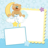 Blank template for greetings card. Or photo frame in blue colors Stock Photography