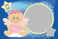 Blank template for greetings card. Blank template for baby's greetings card or photo frame with zodiac signs Stock Image