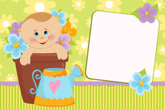 Blank template for greetings card. Blank template for baby's greetings card or photo frame Royalty Free Stock Image