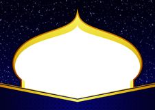 Blank Template Happy Eid Ramadhan Elegant Blue and Gold Greeting Card with Mosque Shilloutte, Stars, and Ornament. Ramadhan and Happy Eid Mubarak Elegant and royalty free illustration