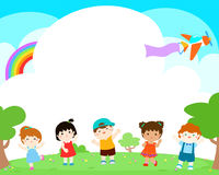 Blank template happy kids poster design . Stock Images