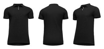 Blank template men black polo shirt short sleeve, front and back view half turn bottom-up, isolated on white background. Blank template men black polo shirt royalty free stock image