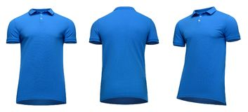 Blank template men blue polo shirt short sleeve, front and back view half turn bottom-up, isolated on white background. With clipping path. Mockup concept t Stock Image