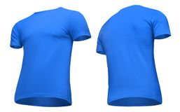 Blank template men blue t shirt short sleeve, front and back view half turn bottom-up, isolated on white background clipping path. Blank template men blue t Royalty Free Stock Images
