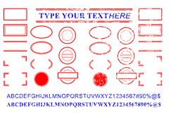 Blank template red and blue alphabet, number, percent, dollar, dot, star, rectangle, lines oval circle rubber stamp effect. Vector template red and blue alphabet vector illustration
