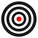 Blank template for sport target vector shooting competition. Clean target with numbers for set shooting range or pistol shooting. Stock Photos